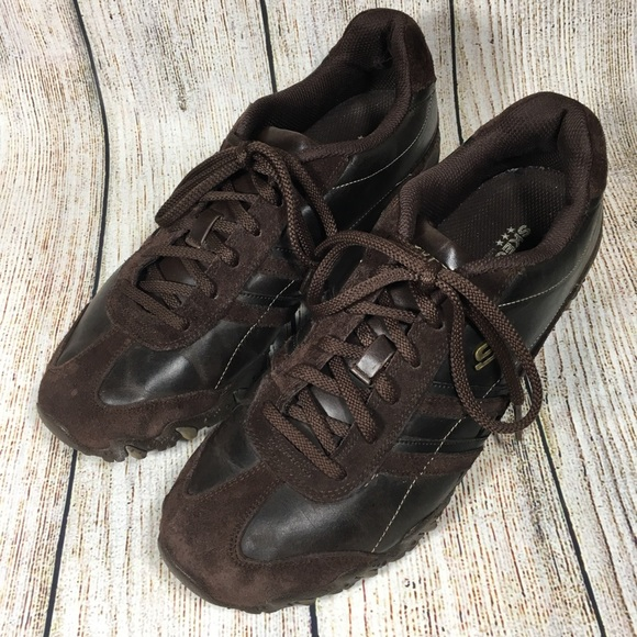 Skechers 46416 Womens Size 11 Brown Lace Up Athletic Walking Shoes Suede Leather